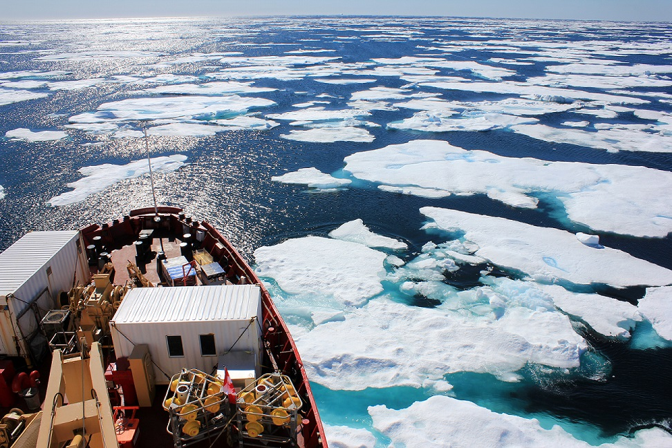CCGS Amundsen negotiating the ice floes © Sabena J Blackbird