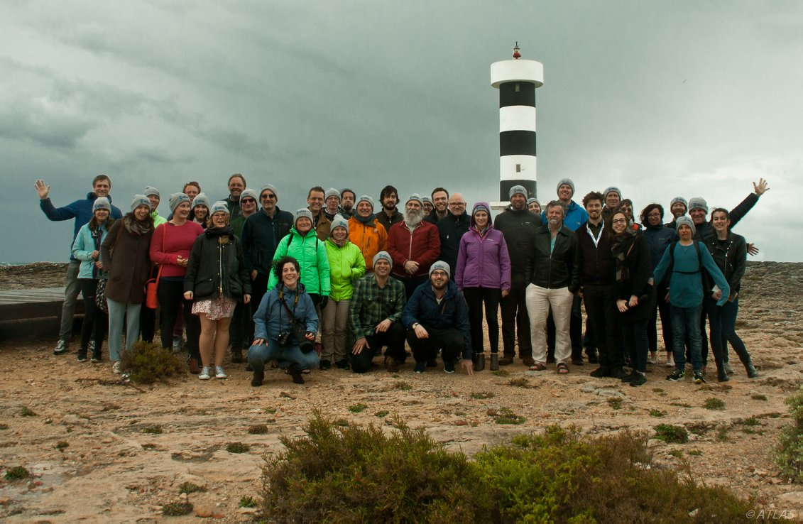 ATLAS 3rd General Assembly group with ATLAS beanies, Mallorca April 2018