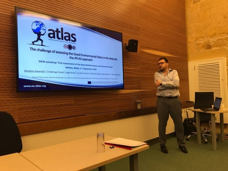 Georgios Kazanidis presenting the work of the ATLAS project towards assessing Good Environmental Status in the deep-sea ecosystems of the North Atlantic